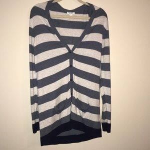 Old navy long striped cardigan, sz L, good condit.